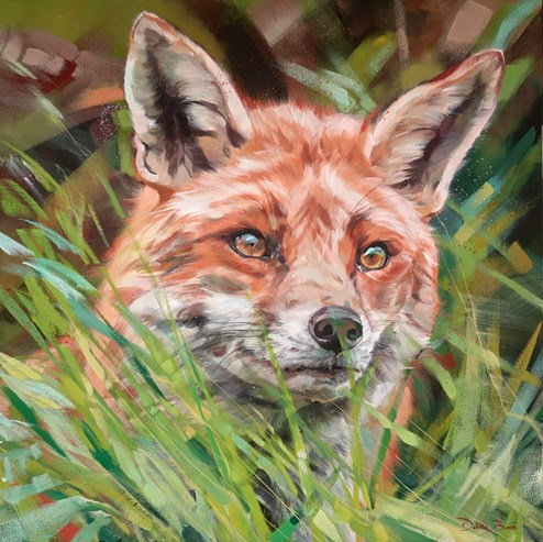 Fox In Long Grass by Debbie Boon - Original Painting on Box Canvas